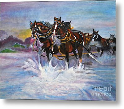Running Horses- Beach Gallop Metal Print