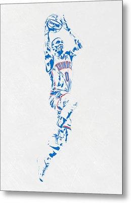 Russell Westbrook Oklahoma City Thunder Pixel Art Metal Print