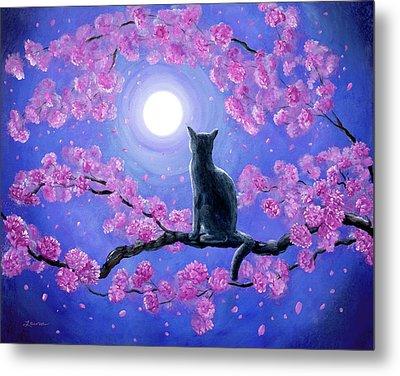 Russian Blue Cat In Pink Flowers Metal Print