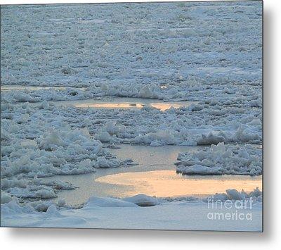 Russian Waterway Frozen Over Metal Print by Margaret Brooks