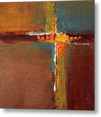 Rust Abstract Painting Metal Print by Nancy Merkle