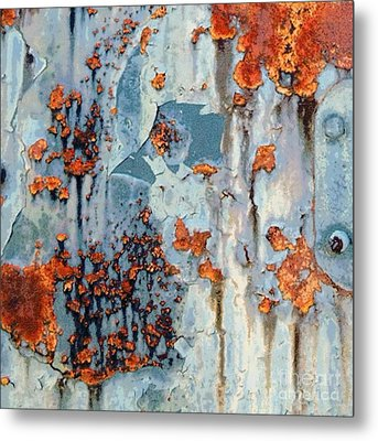 Rusted World - Orange And Blue - Abstract Metal Print