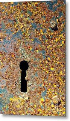 Rusty Key-hole Metal Print