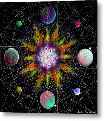 Metal Print featuring the digital art Sacred Planetary Geometry - Dark Red Atom by Iowan Stone-Flowers
