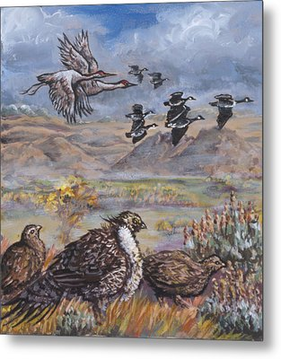 Sage Grouse Watch The Migration Metal Print