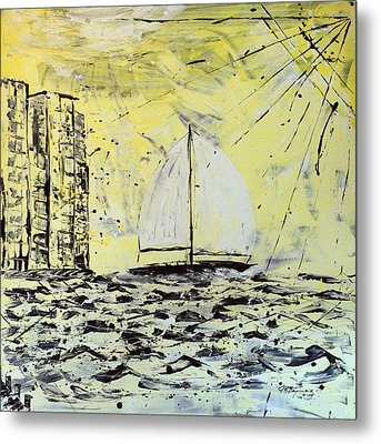 Sail And Sunrays Metal Print by J R Seymour