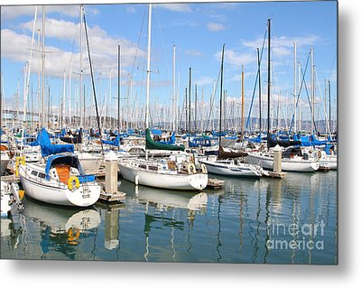 Sail Boats At San Francisco China Basin Pier 42 With The Bay Bridge In The Background . 7d7664 Metal Print by Wingsdomain Art and Photography