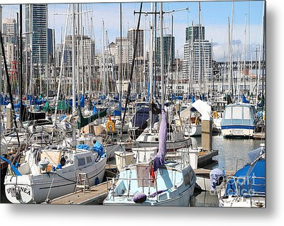 Sail Boats At San Francisco China Basin Pier 42 With The San Francisco Skyline . 7d7675 Metal Print by Wingsdomain Art and Photography