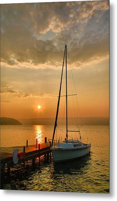 Sailboat And Sunrise Metal Print by Steven Ainsworth