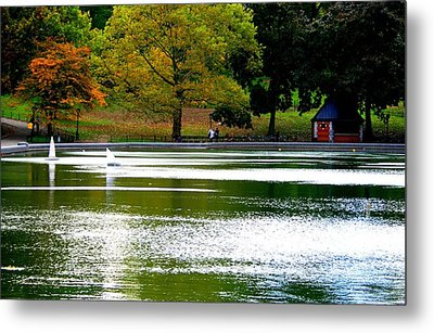 Sailboat Pond At Central Park Metal Print by Christopher Kirby
