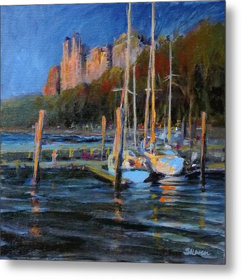Sailboats At Dusk, Hudson River Metal Print by Peter Salwen