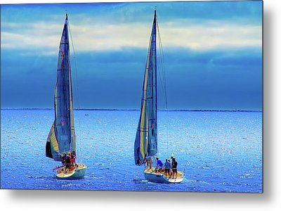 Sailing In The Blue Metal Print by Joseph Hollingsworth