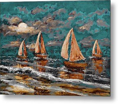 Sailing Into The Blue Moon Metal Print