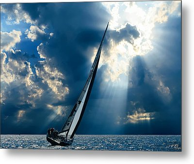 Sailing Ship . The Sea Hates A Coward.  Metal Print
