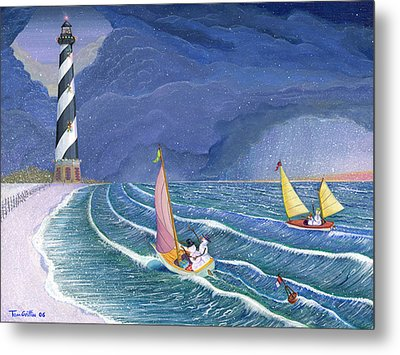 Sailing Snowmen Metal Print by Thomas Griffin