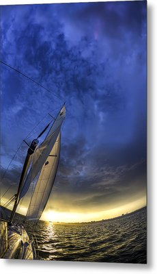 Sailing Sunset Beneteau 49 Yacht Metal Print