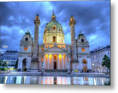 Saint Charles's Church At Karlsplatz In Vienna, Austria, Hdr Metal Print