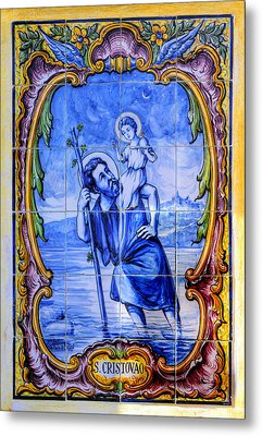 Saint Christopher Carrying The Christ Child Across The River - Near Entrance To The Carmel Mission Metal Print by Michael Mazaika