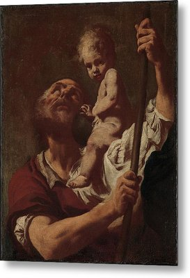 Saint Christopher Carrying The Infant Christ Metal Print