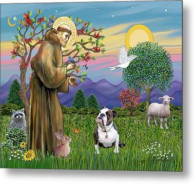 Saint Francis Blesses A Brown And White English Bulldog Metal Print