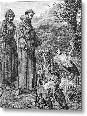 Saint Francis Of Assisi Preaching To The Birds Metal Print by English School