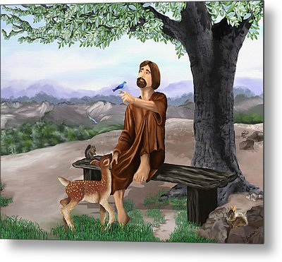 Metal Print featuring the painting Saint Francis by Susan Kinney