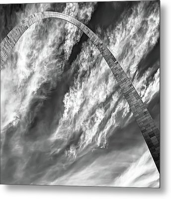 Saint Louis Arch And Clouds Right Black And White 1x1 Metal Print by Gregory Ballos