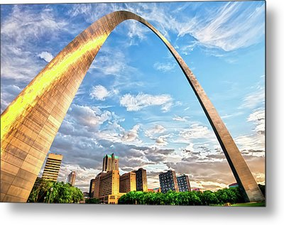 Saint Louis Skyline Morning Under The Arch Metal Print by Gregory Ballos
