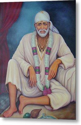 Saint Sai Baba, Shirdi Sai Baba, Portrait,online Art Gallery, Oil Painting On Canvas. Metal Print