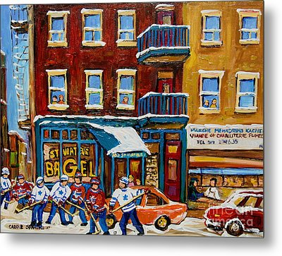 Metal Print featuring the painting Saint Viateur Bagel With Hockey by Carole Spandau