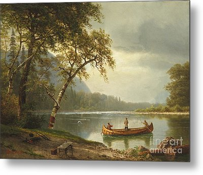 Salmon Fishing On The Caspapediac River Metal Print by Albert Bierstadt