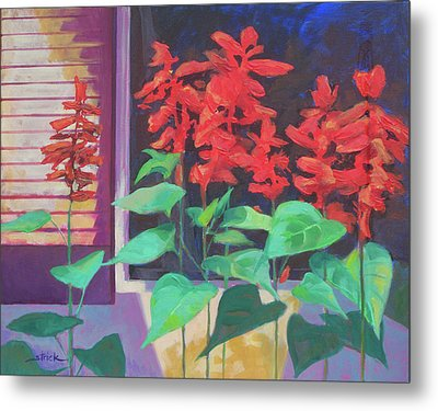 Salvia In The Windowbox Metal Print by Carol Strickland