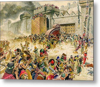 Samaria Falling To The Assyrians Metal Print by Don Lawrence