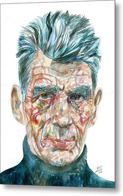 Metal Print featuring the painting Samuel Beckett Watercolor Portrait.10 by Fabrizio Cassetta