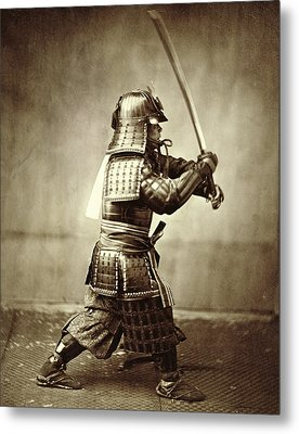 Samurai With Raised Sword Metal Print by F Beato