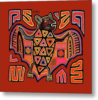 Metal Print featuring the digital art San Blas Kuna Indian Bat by Vagabond Folk Art - Virginia Vivier