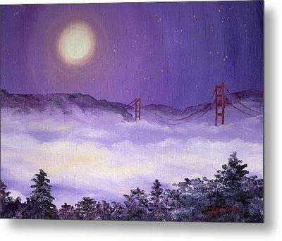 San Francisco Bay In Purple Fog Metal Print by Laura Iverson