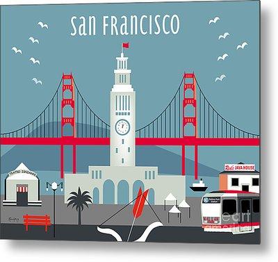 San Francisco California Horizontal Skyline - Ferry Building Metal Print
