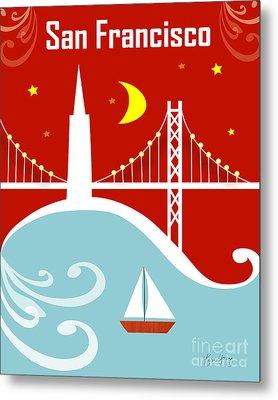 San Francisco California Vertical Scene - East Bay Bridge And Boat Metal Print