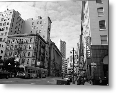 San Francisco - Jessie Street View - Black And White Metal Print