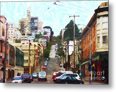 San Francisco Lombard Street Metal Print by Wingsdomain Art and Photography