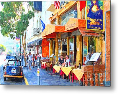 San Francisco North Beach Outdoor Dining Metal Print by Wingsdomain Art and Photography
