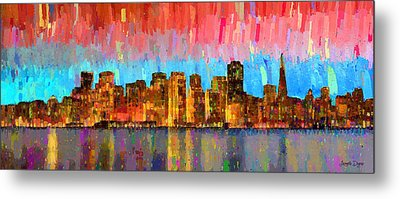 San Francisco Skyline 11 - Pa Metal Print by Leonardo Digenio