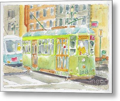 Metal Print featuring the painting San Francisco Streetcar by Pat Katz