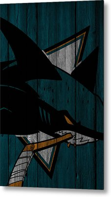 San Jose Sharks Wood Fence Metal Print