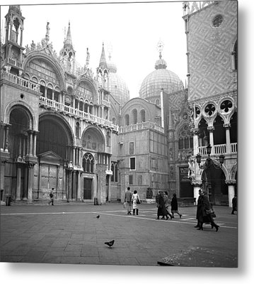 Metal Print featuring the photograph San Marco Piazza And Basilica In Venice by Emanuel Tanjala