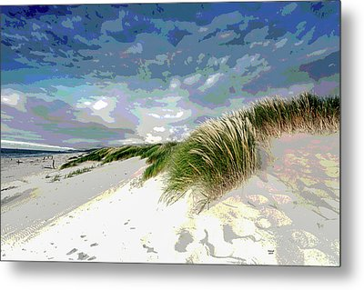 Sand And Surfing Metal Print