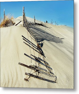 Sand Dune Fences And Shadows Metal Print by Gary Slawsky