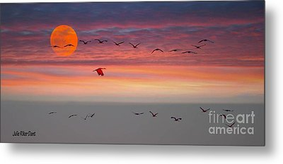 Sand Hill Cranes At Sunset/moonrise Metal Print