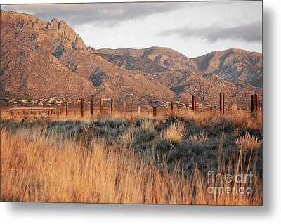 Sandia Mountains Rustic Fence Countryside Metal Print by Andrea Hazel Ihlefeld